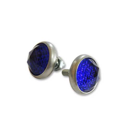 ディープブルー ダイヤモンドカットガラスライセンスプレートリフレクター